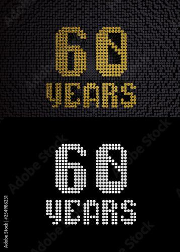 Fotografía  Golden number sixty years. 3D render