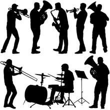 Set Silhouette Of Musician Pla...
