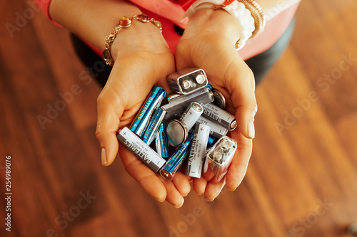 Obraz Closeup on different types of batteries in hand of housewife - fototapety do salonu