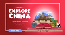 Explore China Travel Banner Design. Asia Travel Design Concept. Vector Travel Banner.