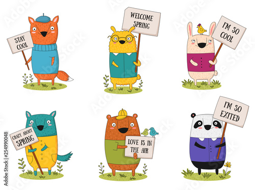Spoed Fotobehang Illustraties Vector collection with doodle funny animals with a transparency
