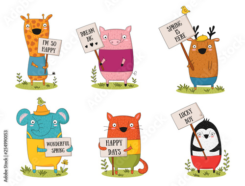 Spoed Fotobehang Illustraties Vector poster with doodle funny animals with a transparency