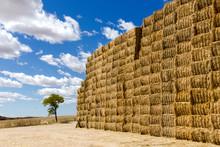 Una Pila De Fardos De Paja Formado Un Muro Para Ser Almacenados En Un Campo De Castilla