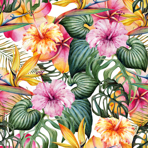 Foto op Canvas Draw Seamless watercolor pattern of tropical plants.