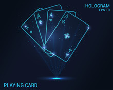 Playing Cards Hologram. Digital And Technological Background Of The Casino. Futuristic Gambling Design.