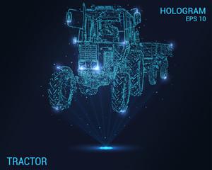 Hologram ciągnika. Tło cyfrowe i technologiczne ciągnika. Futurystyczny projekt ciągnika.
