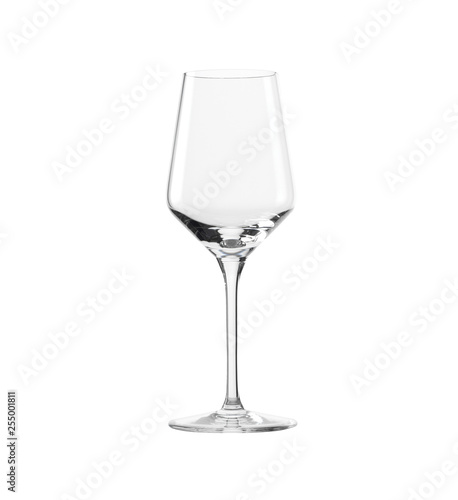 Foto op Canvas Alcohol Empty elegant glass for white wine isolated on white background.