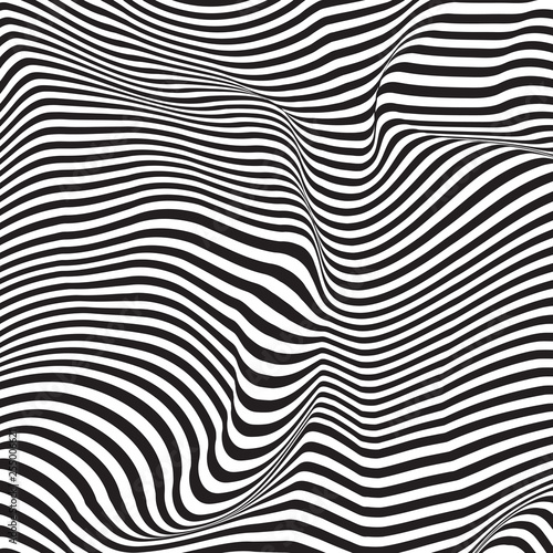 Wavy, billowy, flowing lines abstract pattern Wallpaper Mural
