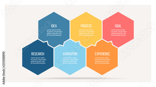 Obraz Business infographics with 6 steps, options, hexagons. Vector template. - fototapety do salonu