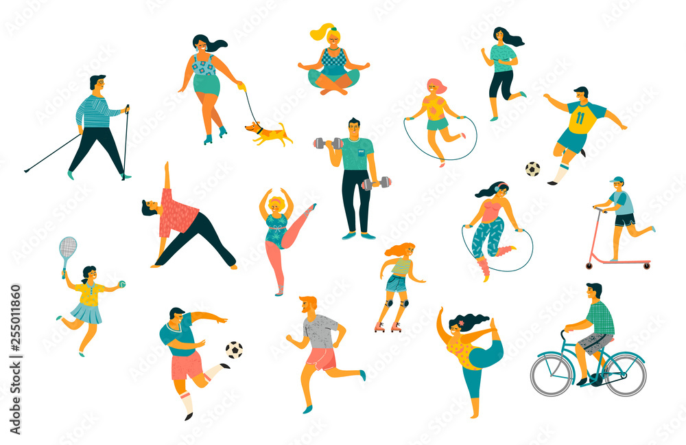 Fototapety, obrazy: World Health Day. Vector illustration of people leading an active healthy lifestyle.