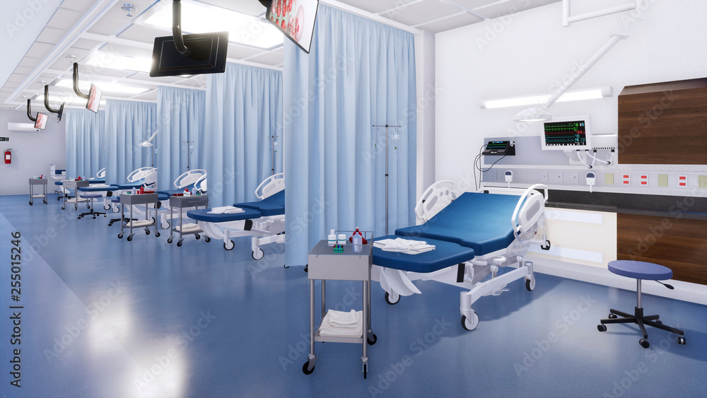 Fototapeta Modern emergency room interior with row of empty hospital beds and various first aid medical equipment. With no people 3D illustration on medicine and health care theme from my own 3D rendering file.