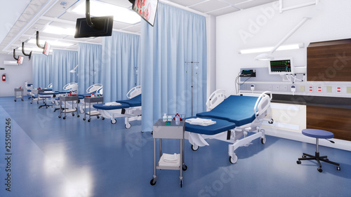 Fotografia  Modern emergency room interior with row of empty hospital beds and various first aid medical equipment