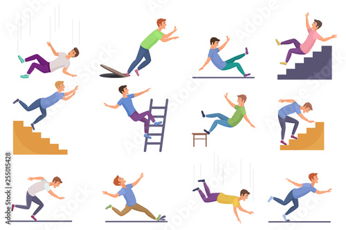 Fototapeta Set of falling man isolated. Falling from chair accident, falling down stairs, slipping, stumbling falling man vector illustration. obraz