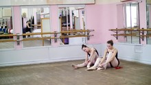 Ballerinas Change Their Shoes Into Special Ballet Shoes Pointe Shoes Lace With