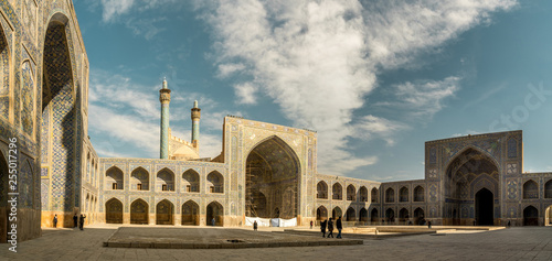 Fotografie, Obraz  Panoramic view of Shah Abbas Mosque, unesco heritage site, inside courtyard with