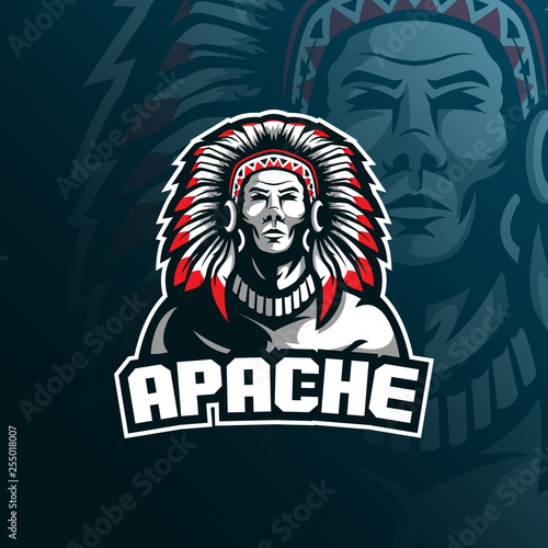 Fotografía tribe apache vector mascot logo design with modern illustration concept style for badge, emblem and tshirt printing