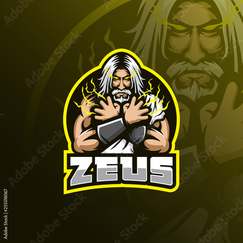 zeus vector mascot logo design with modern illustration concept style for badge, emblem and tshirt printing Canvas Print