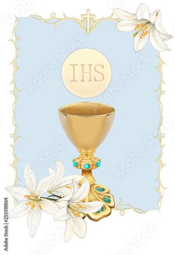 Fényképezés Pierwsza Komunia Święta, białe Lilie, chłopiec, złoty kielich z turkusami