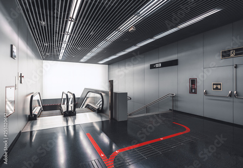 Contemporary escalator and staircase indoors of a shopping mall or an airport te Canvas Print