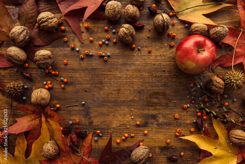 Pinturas sobre lienzo  Autumn fruit, berries and leaves on wooden background