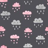 Fototapeta Fototapety na ścianę do pokoju dziecięcego - Seamless cute watercolor clouds pattern. Baby print.