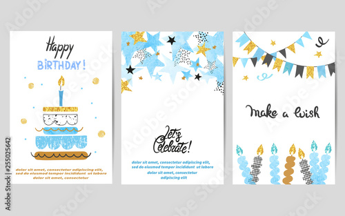 Fotografía  Happy Birthday cards set in blue and golden colors