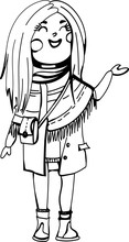 Black And White Cartoon Illustration Of A Cute Spring Girl For Coloring. Unique Style. Interesting Girl Outfit