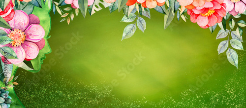 Deurstickers Lelietje van dalen Spring woman green background