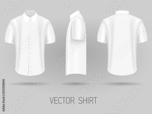 Valokuva  white short sleeve shirt design templates front, back, and side views vector moc
