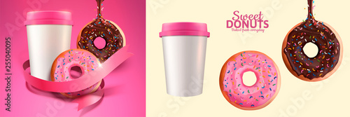 Fotografia, Obraz Sweet donut and take out coffee