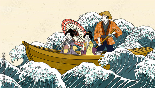 Photo Boat ride trip in ukiyo-e style