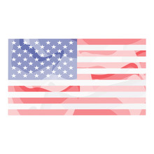Watercolor Flag Of United States. Vector Illustration Design