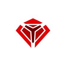 Letter Y With Diamond Shape Logo Design Vector Illustration
