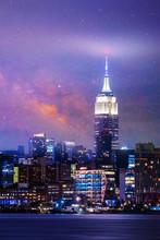 Starry Night Aerial View Of New York City,New York. Manhattan Skyline At Night.