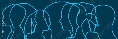 Social media network. Outline human silhouettes. Overlay heads. Digital, interactive and global communication concept.