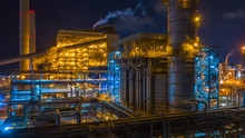 Power Station, Combined Heat Power Plant At Night, Large Combined Cycle Power Plant.