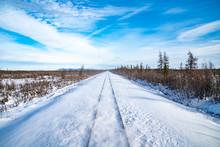 Snow On Train Tracks In Alaska