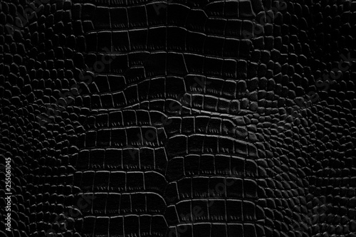 Tuinposter Krokodil Black crocodile leather texture background Ready used us backdrop or products design