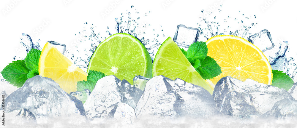 Fototapeta lime and lemon with splash of water and ice cubes isolated on white