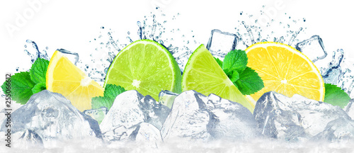 Naklejki na kafelki lime-and-lemon-with-splash-of-water-and-ice-cubes-isolated-on-white
