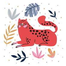 Hand-drawn Illustration With Wild Cat And Tropical Leaves On The Polka Dots Background - For Home Decor, T-shirt Print, Poster, Greeting Card. Creative Cute Vector Illustration With Leopard.
