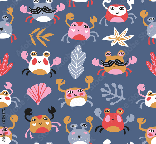 Poster Ciel Bright baby fabric design with crabs and sea plants. Sea repeated print for kids design. Vector seamless pattern.