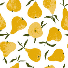 Tropical Summer Fruit Seamless Pattern. Yellow Pear In Hand Drawn Style. Vector Vintage Fabric Design.