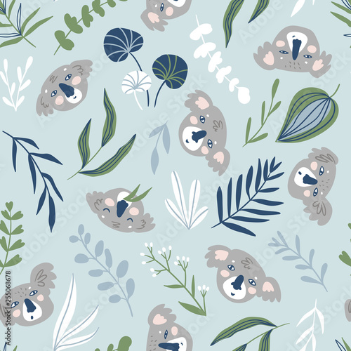 obraz PCV Vector hand-drawn seamless pattern with animals. Repeating background. Koala.