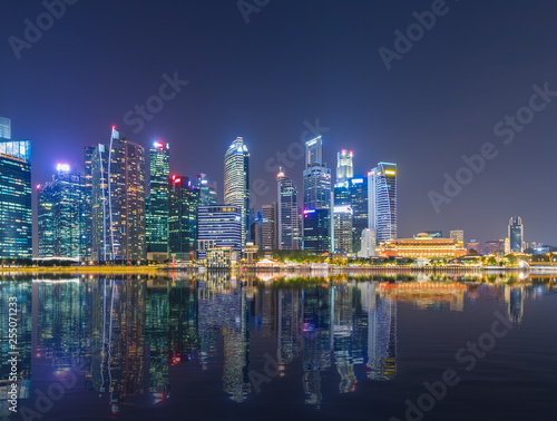 Poster New York Singapore Skyline cityscape view twilight sky and beautiful night view for marina bay.