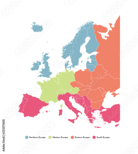 Vector illustration with simplified map of European regions ...