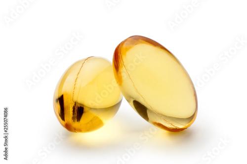 Fish oil capsules isolated on white background Fototapeta