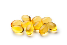 Pile Of Fish Oil Capsules Isolated On White Background