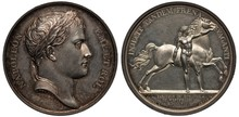 France French Commemorative Silver Medal Mid 19th Century, Subject Establishing Kingdom Of Westphalia In 1807, Laureate Head Of Napoleon Bonaparte, Napoleon In Front Of Galloping Horse,