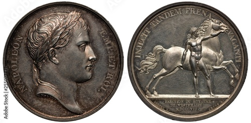 Fotomural  France French commemorative silver medal mid 19th century, subject Establishing